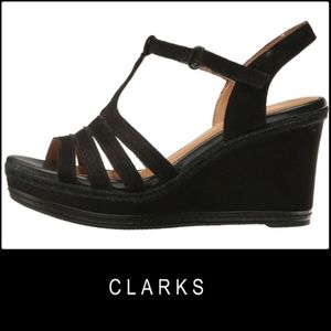 Clark Zia Reign Leather Black Sandal Wedge Size 9
